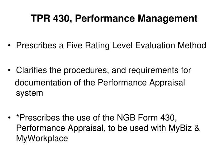 TPR 430, Performance Management