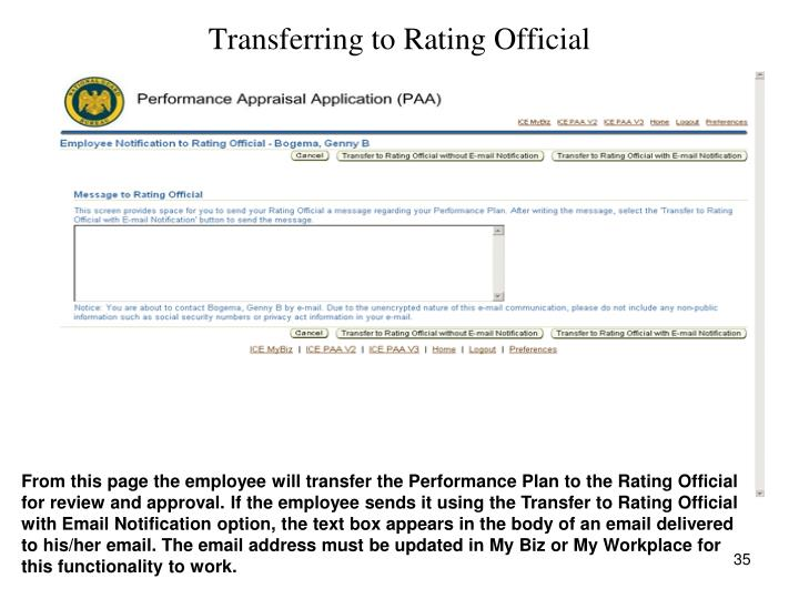 Transferring to Rating Official