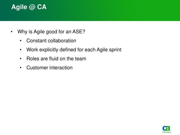 Agile @ CA