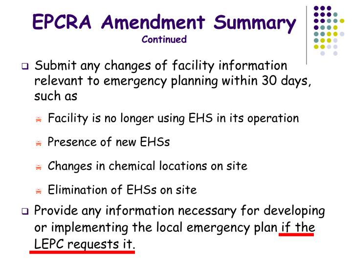 EPCRA Amendment Summary