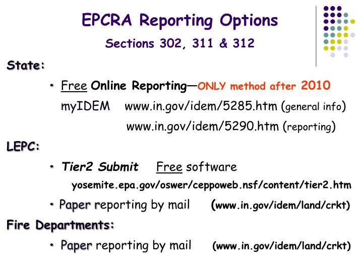 EPCRA Reporting Options