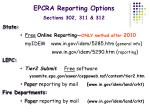epcra reporting options sections 302 311 312