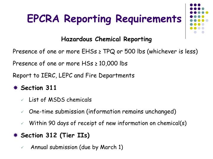 EPCRA Reporting Requirements