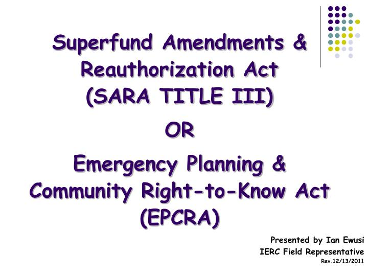 Superfund Amendments & Reauthorization Act