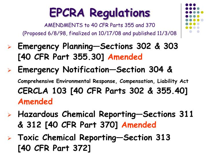EPCRA Regulations