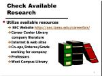 check available research