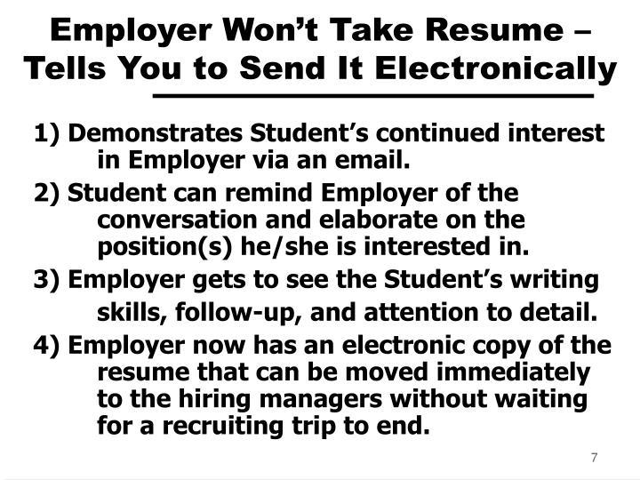 Employer Won't Take Resume –
