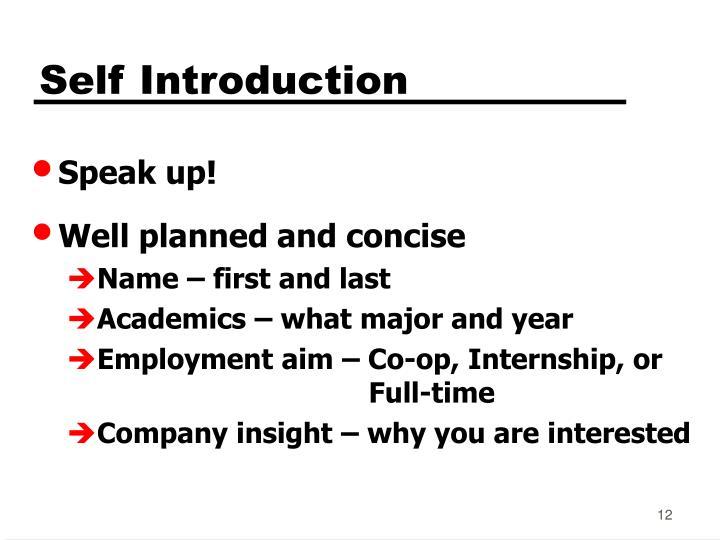 Self Introduction