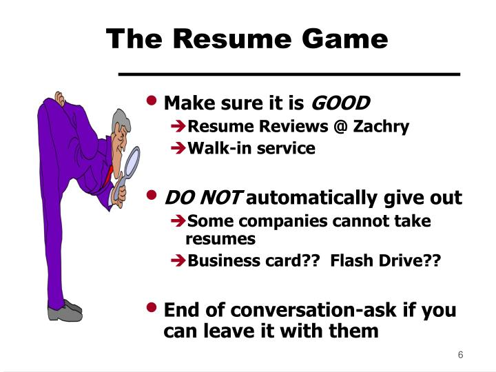 The Resume Game
