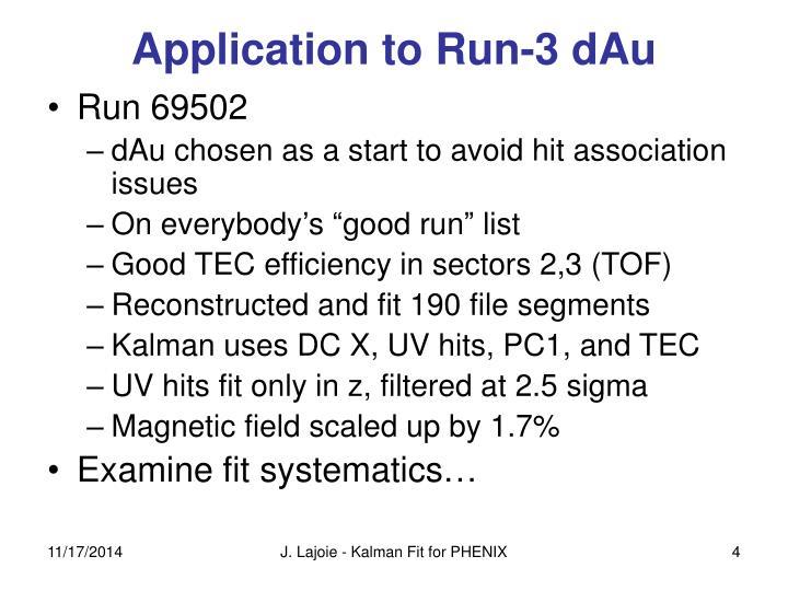 Application to Run-3 dAu