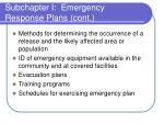 subchapter i emergency response plans cont