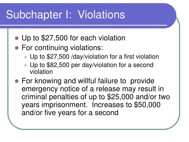 Subchapter I:  Violations