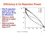 efficiency b vs rejection power