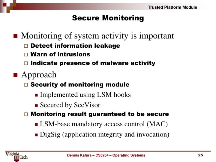 Secure Monitoring