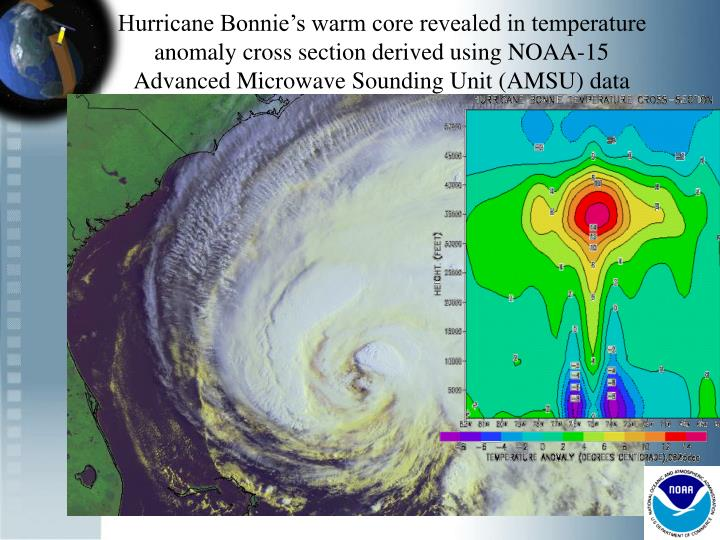 Hurricane Bonnie's warm core revealed in temperature anomaly cross section derived using NOAA-15 Advanced Microwave Sounding Unit (AMSU) data