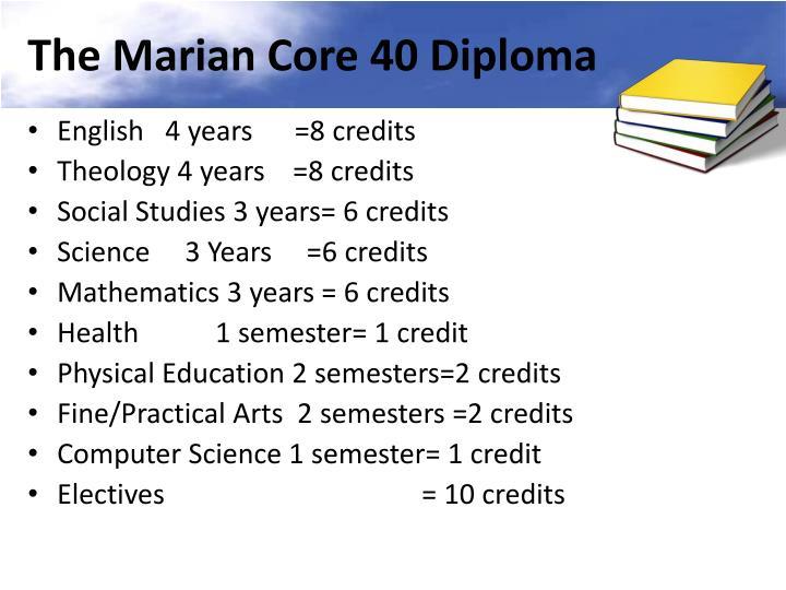 The Marian Core 40 Diploma