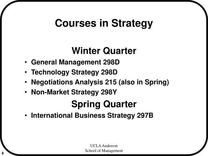 Courses in Strategy