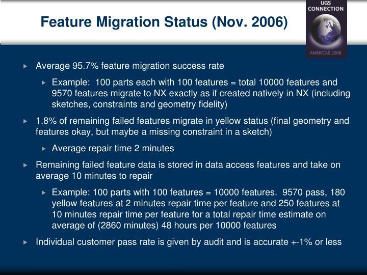 Feature Migration Status (Nov. 2006)