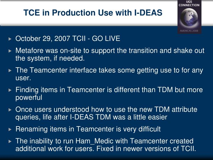 TCE in Production Use with I-DEAS