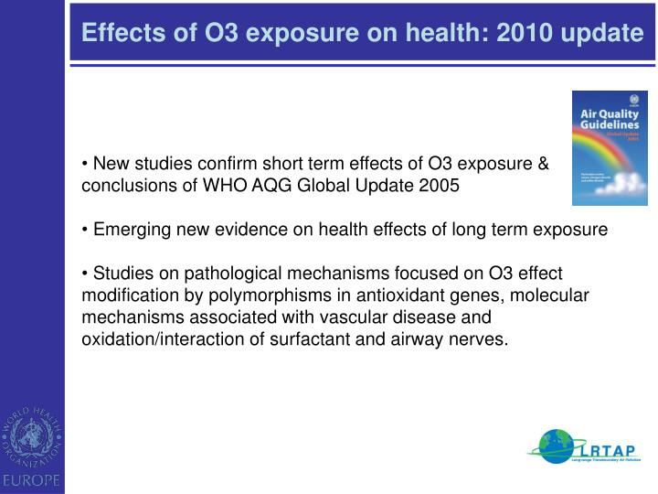 Effects of O3 exposure on health: 2010 update