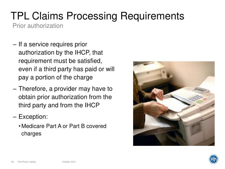 TPL Claims Processing Requirements
