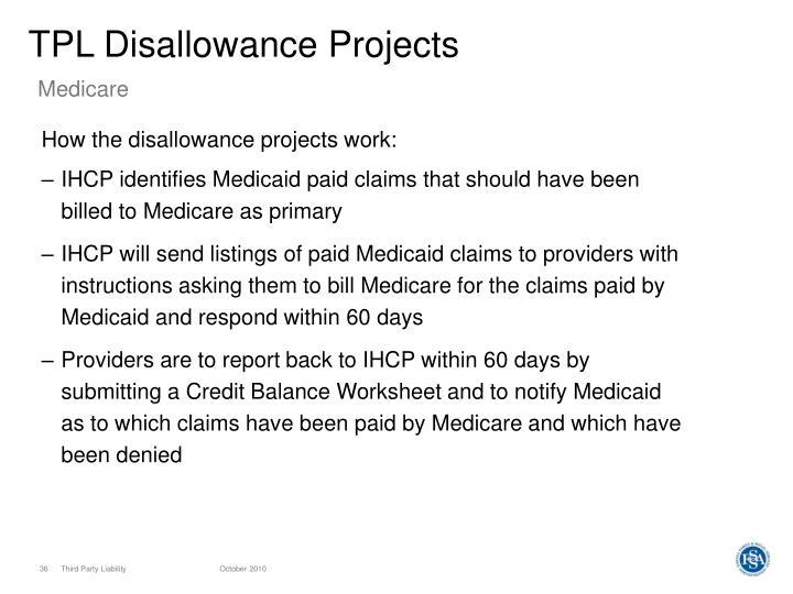 TPL Disallowance Projects