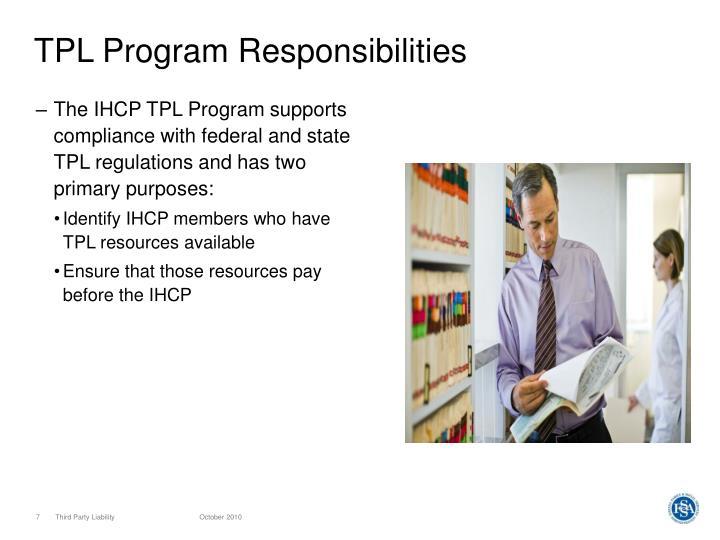 TPL Program Responsibilities