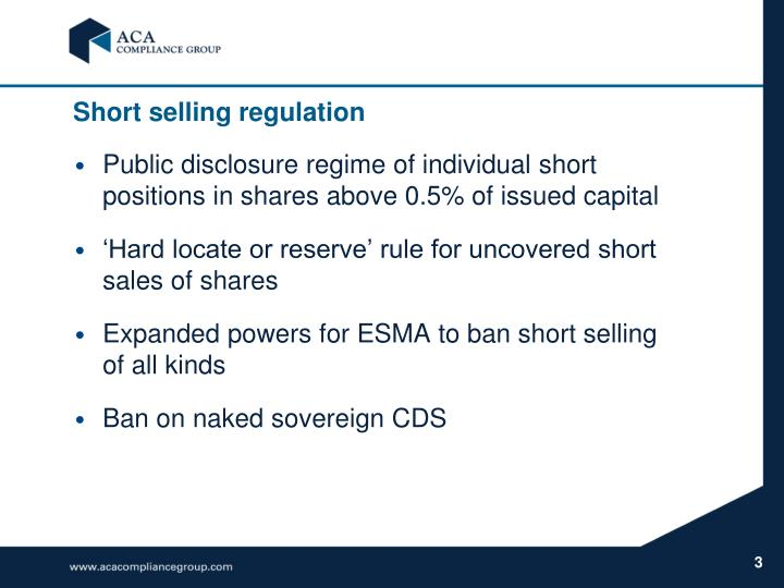 Short selling regulation