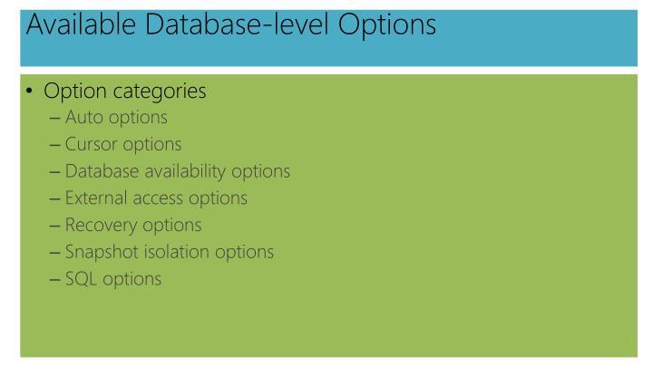 Available Database-level Options