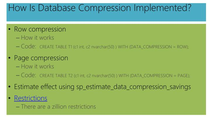 How Is Database Compression Implemented?