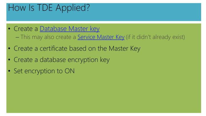 How Is TDE Applied?