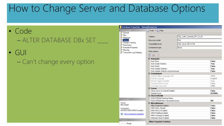 How to Change Server and Database Options