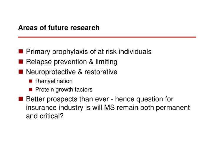 Areas of future research