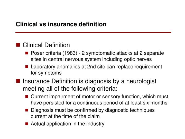 Clinical vs insurance definition