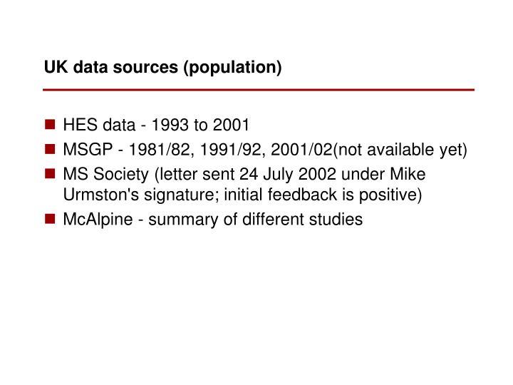 UK data sources (population)