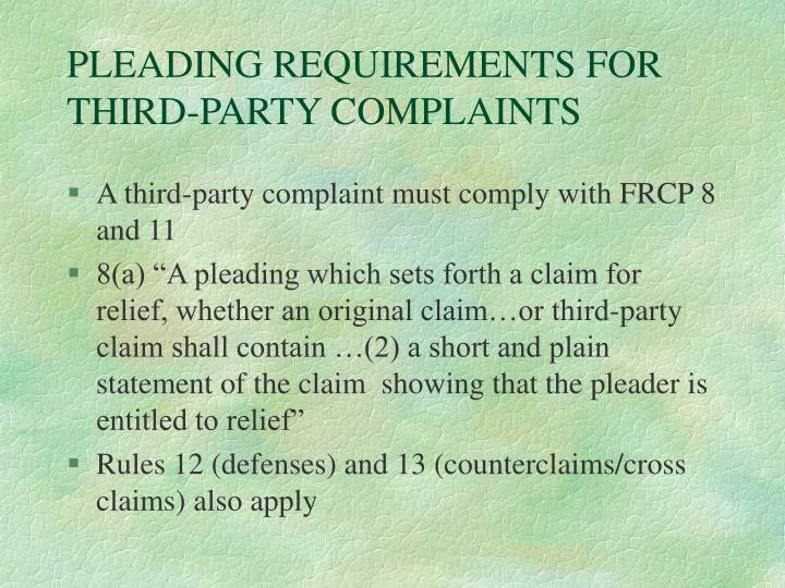 PLEADING REQUIREMENTS FOR THIRD-PARTY COMPLAINTS