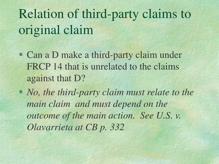 Relation of third-party claims to original claim