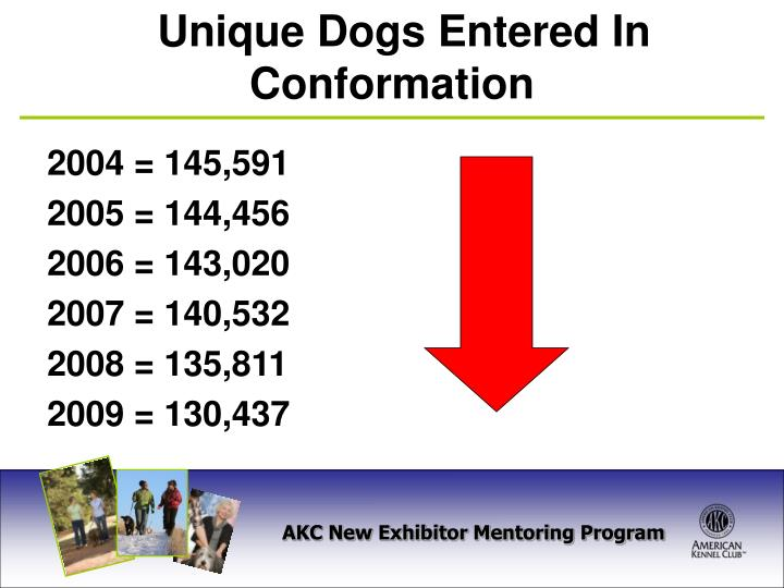 Unique dogs entered in conformation