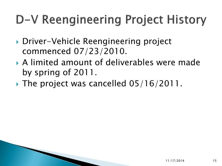 D-V Reengineering Project History