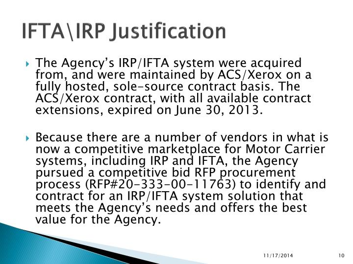 IFTA\IRP Justification
