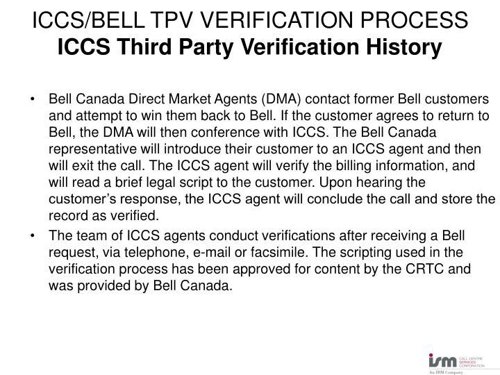 ICCS/BELL TPV VERIFICATION PROCESS