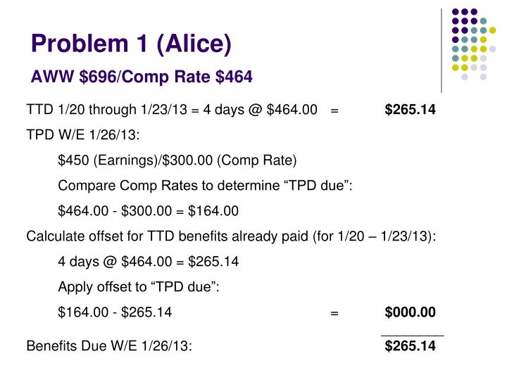 Problem 1 alice aww 696 comp rate 464