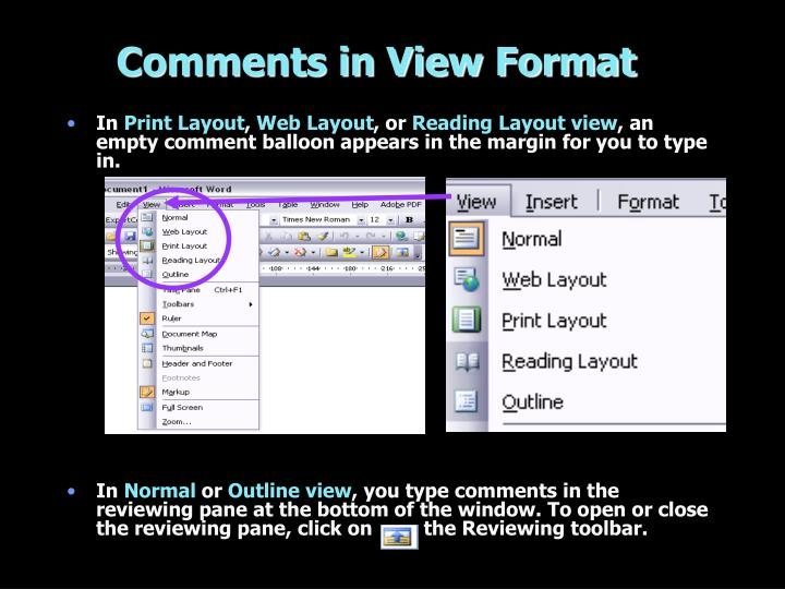 Comments in View Format