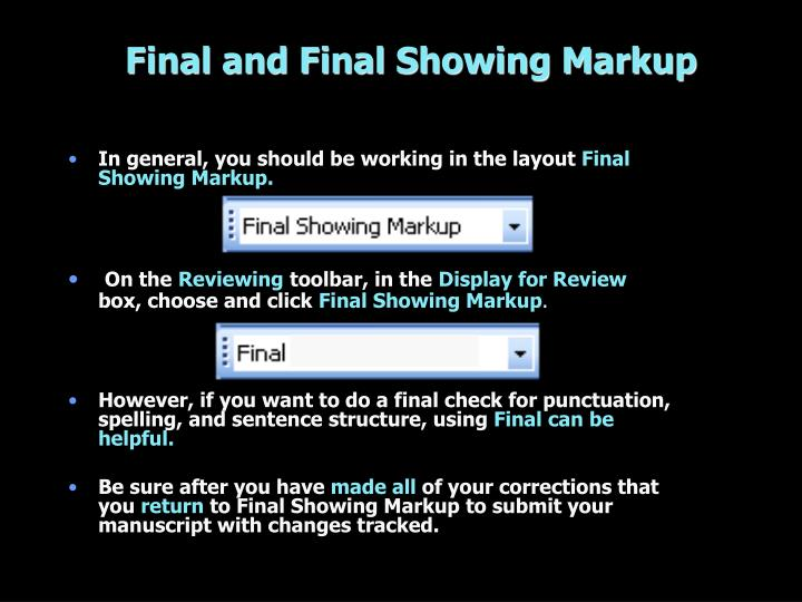 Final and Final Showing Markup
