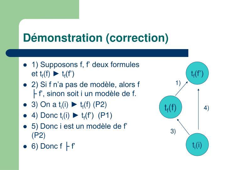 Démonstration (correction)