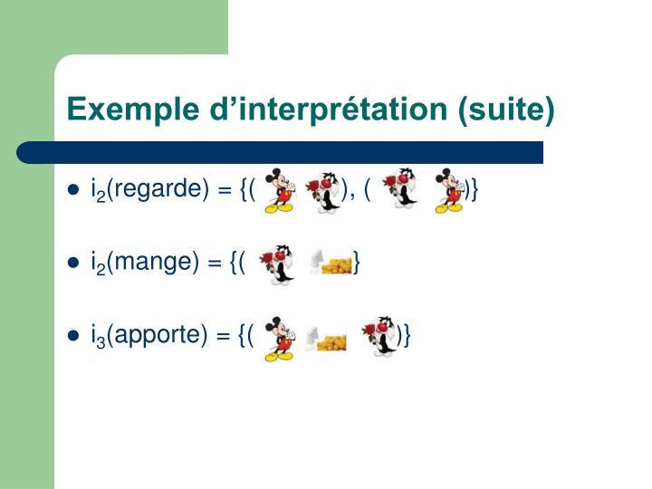 Exemple d'interprétation (suite)