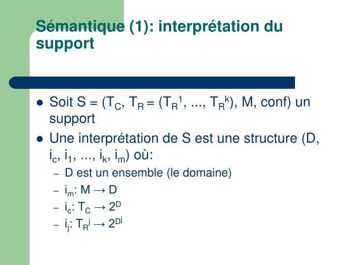 Sémantique (1): interprétation du support