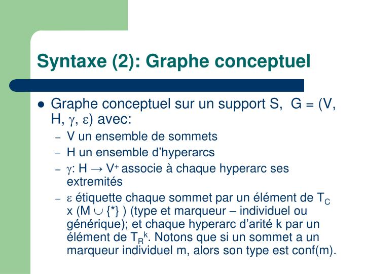 Syntaxe (2): Graphe conceptuel