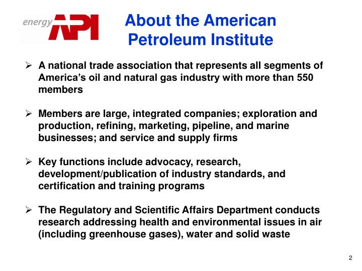 About the American Petroleum Institute