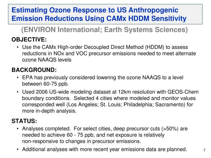 Estimating Ozone Response to US Anthropogenic Emission Reductions Using